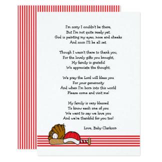 Rote Baseball Babyparty Danken Ihnen, Mit Gedicht Karte