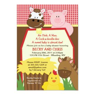 Rote Bauernhofbarnyard-Babyparty-Einladung Einladung
