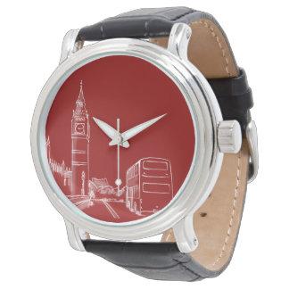Rote Big Ben Skizze-elegantes einfaches Londons Uhr