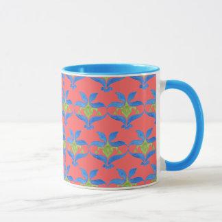 Rote, blaue, grüne Kunst Nouveau Muster-Tasse Tasse