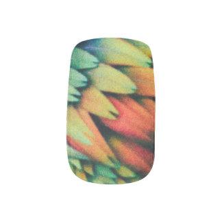 Rote blaue orange Gelbgrün-Vogel-Federn Minx Nagelkunst