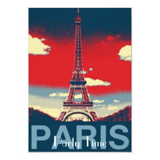rote blaue retro Vintage Turmmode Paris Effiel 12,7 X 17,8 Cm Einladungskarte