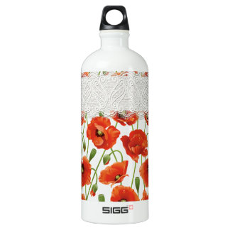 Rote blühende Mohnblume Aluminiumwasserflasche