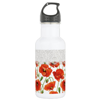 Rote blühende Mohnblume Trinkflasche