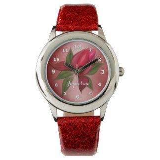 Rote Blume auf Rot mit Namen Armbanduhr