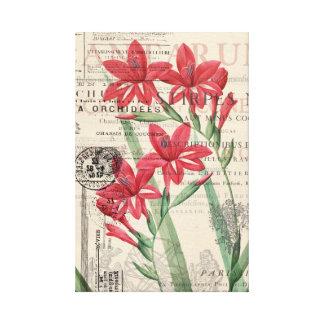 Rote Blumen-Collage Leinwanddruck