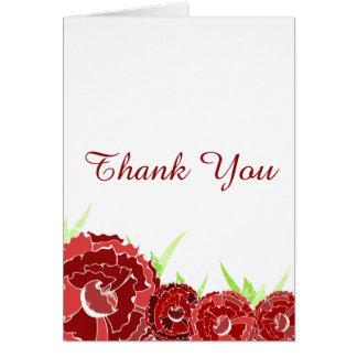 rote Blumen danken Ihnen Karte