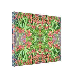 Rote Blumen-Fraktal-Leinwand der Lilien-1 klein Galerie Gefaltete Leinwand