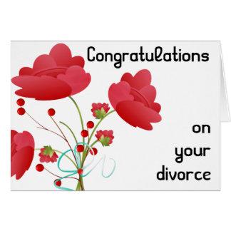 Rote Blumen-Scheidung Karte