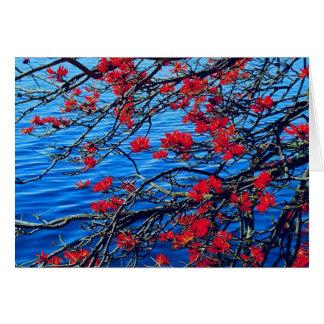 Rote Blumenanmerkungskarte Karte