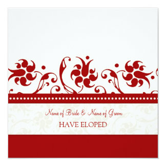 Rote Blumenentlaufen-Mitteilungs-Karten Quadratische 13,3 Cm Einladungskarte