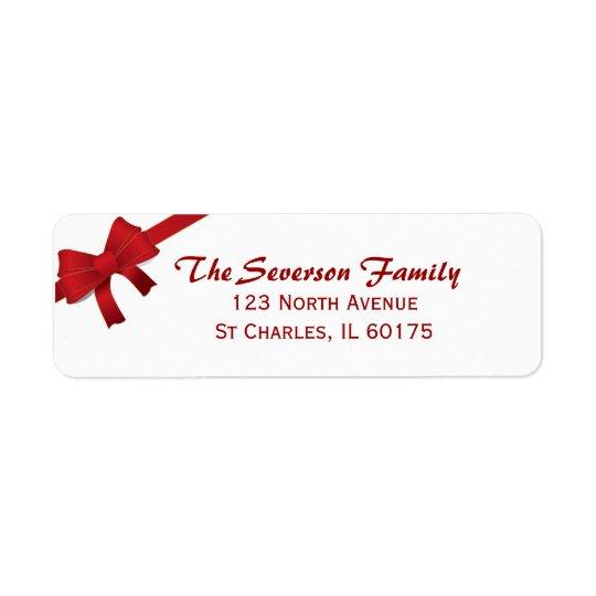 Rote Bogen-Weihnachtsfeiertags-Rücksendeadresse Rücksendeetikett