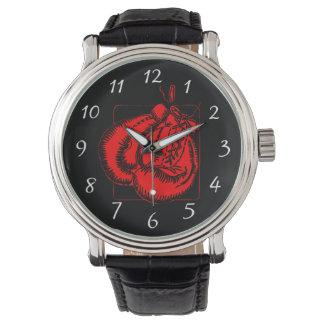 Rote Boxhandschuhe Armbanduhr