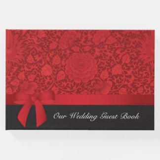 Rote Brokat-Hochzeit Gästebuch