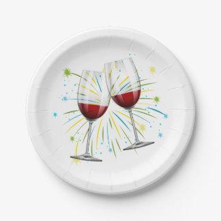 Rote Burgunder-Wein-Gläser, die Pappteller