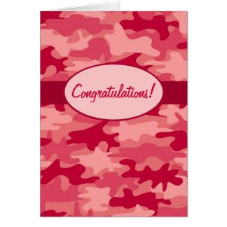 Rote Camouflage-Tarnungs-Glückwünsche Karte