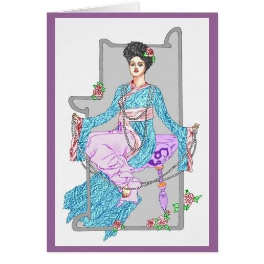 Rote China-Rose u. Perlen Grußkarte