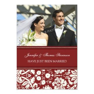 Rote Damast-Foto-gerade verheiratete 12,7 X 17,8 Cm Einladungskarte
