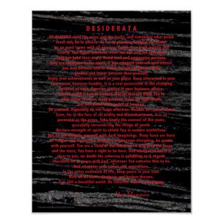 Rote Desiderata auf Raum-Staub-Schwarz-Marmor Poster