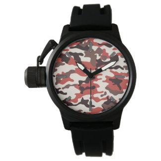 Rote die Camouflage-Armbanduhr der Männer Armbanduhr