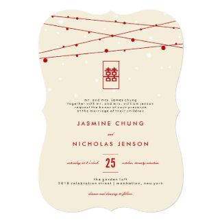 Rote doppelte Glück-feenhafte Licht-chinesische 12,7 X 17,8 Cm Einladungskarte