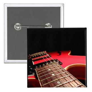 Rote E-Gitarre Quadratischer Button 5,1 Cm