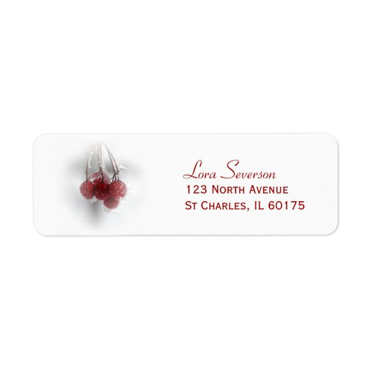 Rote eisige Winter-Beeren-Rücksendeadresse