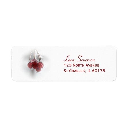 Rote eisige Winter-Beeren-Rücksendeadresse Rückversand-Adressaufkleber