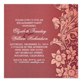 rote elegante Verlobungs-Party Einladungen