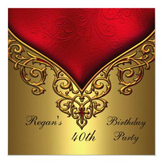 Rote elegantes Geburtstags-Party des Goldjuwel-40. Quadratische 13,3 Cm Einladungskarte