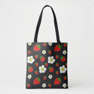 Rote Erdbeerpunkte im Schwarzen Tasche