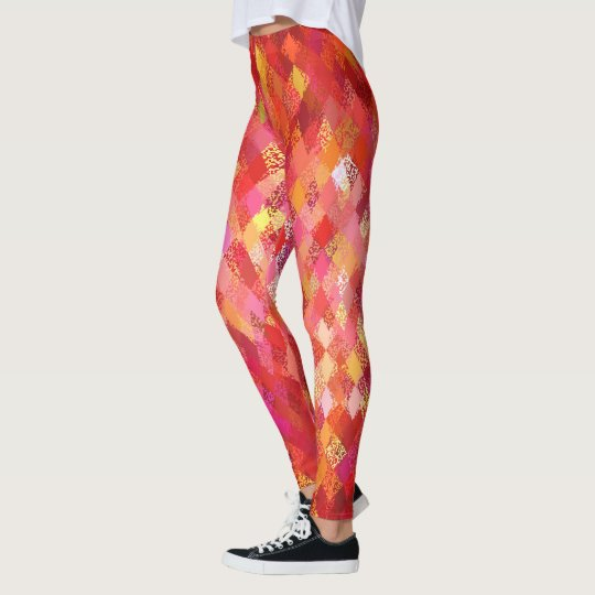 Rote Farbe-Mischung Harlekin-Muster-Gamaschen Leggings
