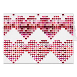 Rote Farbpalette, Herz formte rote Töne Karte