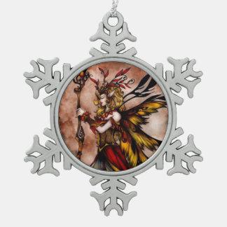 Rote feenhafte Schneeflocke-Verzierung Schneeflocken Zinn-Ornament
