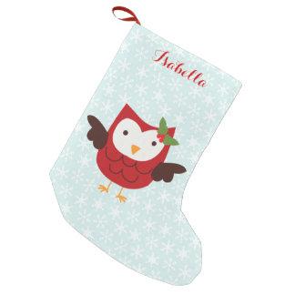 Rote Feiertags-Eule personalisiert Kleine Weihnachtsstrümpfe