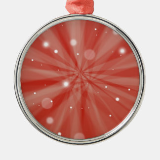 Rote festliche Sternexplosion und Schnee Rundes Silberfarbenes Ornament