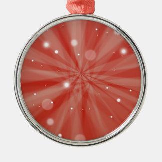 Rote festliche Sternexplosion und Schnee Silbernes Ornament