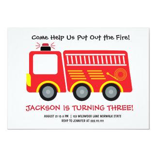 Rote Firetruck-Geburtstags-Einladung 12,7 X 17,8 Cm Einladungskarte