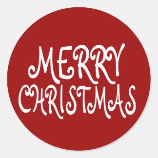 Rote frohe Weihnacht-Aufkleber Runder Aufkleber
