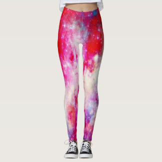 Rote Galaxie Leggings