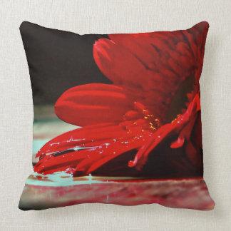 Rote Gänseblümchengerbera-Blumen Kissen