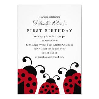 Rote Geburtstags-Party Einladung der Marienkäfer-|