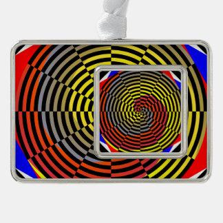Rote gelbe Blau-Spirale Rahmen-Ornament Silber