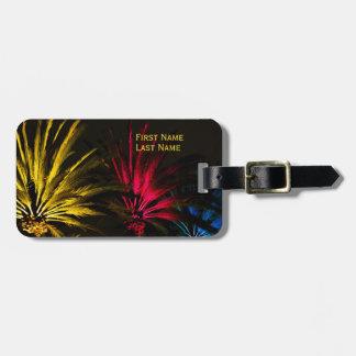 Rote gelbe schwarze tropische Palme-Schablone Gepäckanhänger