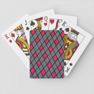Rote geometrische Diamant-Musterstandardkarten Spielkarten