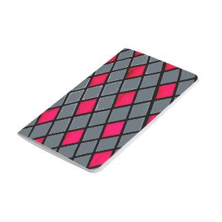 Rote geometrische Diamant-Mustertaschenzeitschrift Taschennotizbuch