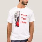 Rote Gitarren-Klavier-Schlüssel und Anmerkung T-Shirt