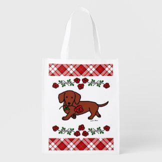 Rote glatte Dackel und Rose Wiederverwendbare Einkaufstasche