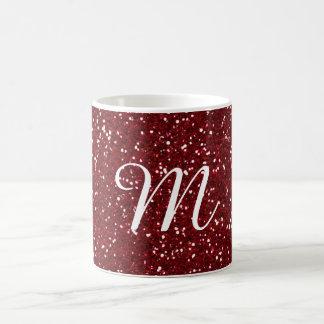 Rote Glitter-Gewohnheit Burgunders mit Monogramm Kaffeetasse