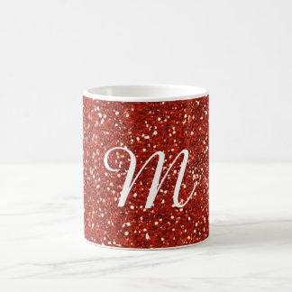 Rote Glitter-Gewohnheit mit Monogramm Kaffeetasse